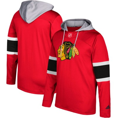 NHL Chicago Blackhawks Red Silver Adidas Pullover Men Hoodie