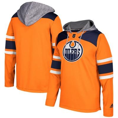 NHL Edmonton Oilers Orange Silver Adidas Pullover Men Hoodie