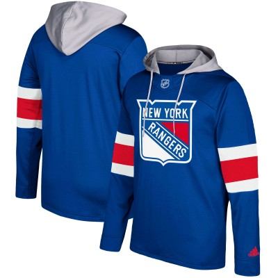 NHL New York Rangers Blue Silver Adidas Pullover Men Hoodie