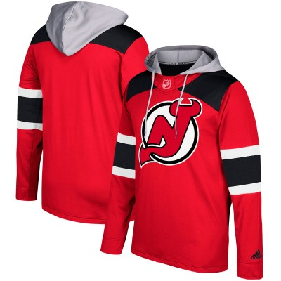 NHL NewDevils Red Silver Adidas Pullover Men Hoodie