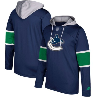 NHL Vancouver Canucks Navy Silver Adidas Pullover Men Hoodie