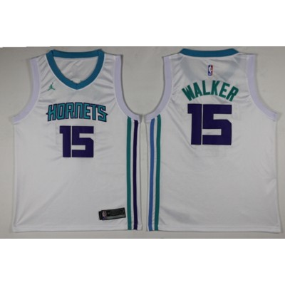 NBA Hornets 15 Kemba Walker White Swingman Nike Men Jersey