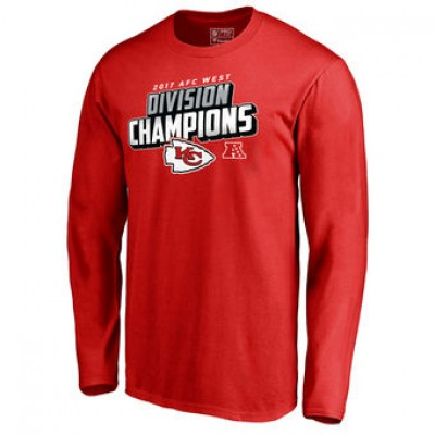 NFL Chiefs Pro Line Red 2017 AFC West Division Champions Long Sleeve Men T-Shirt