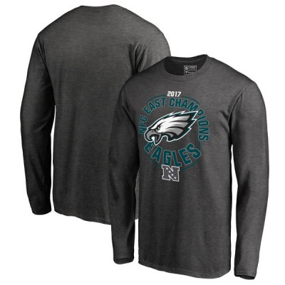 NFL Eagles Pro Line Heather Charcoal 2017 NFC East Division Champions Long Sleeve Men T-Shirt