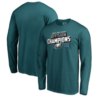 NFL Eagles Pro Line Midnight Green 2017 NFC East Division Champions Long Sleeve Men T-Shirt