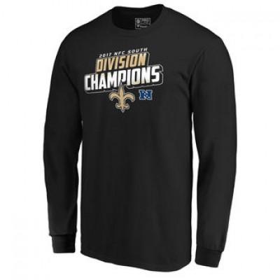 NFL Saints Pro Line Black 2017 NFC South Division Champions Long Sleeve Men T-Shirt
