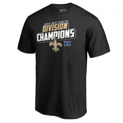 NFL Saints Pro Line Black 2017 NFC South Division Champions Men T-Shirt