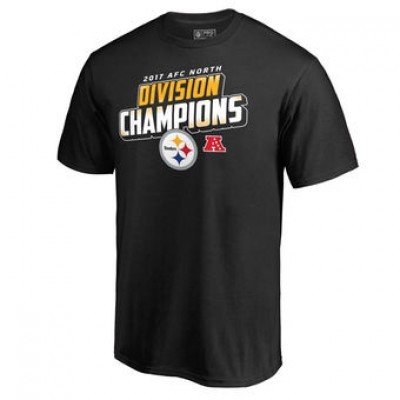 NFL Steelers Pro Line Black 2017 AFC North Division Champions Men T-Shirt