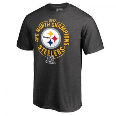 NFL Steelers Pro Line Heather Charcoal 2017 AFC North Division Champions Men T-Shirt
