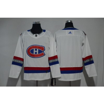 NHL Canadiens Blank White 100 Classic Adidas Men Jersey