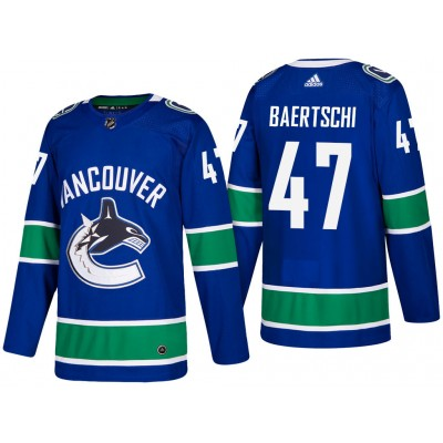 NHL Canucks 47 Sven Baertschi Blue Adidas Men Jersey