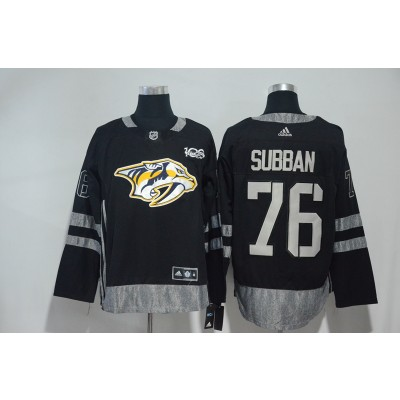 NHL Predators 76 P.K Subban Black 100th Anniversary Adidas Men Jersey