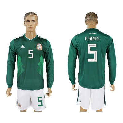 Mexico 5 A.REYES Home 2018 FIFA World Cup Long Sleeve Soccer Jersey