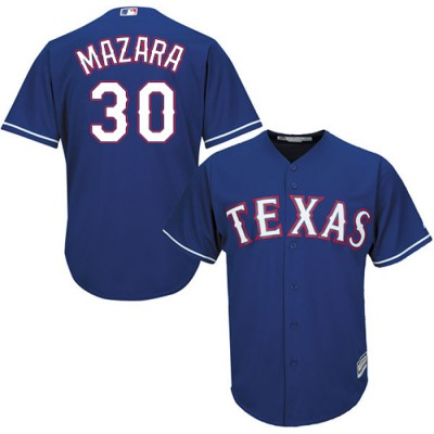 MLB Rangers 30 Nomar Mazara Blue Cool Base Men Jersey