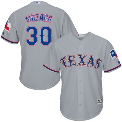 MLB Rangers 30 Nomar Mazara Grey Cool Base Men Jersey
