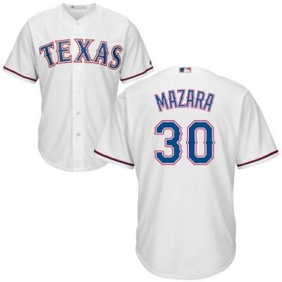 MLB Rangers 30 Nomar Mazara White Cool Base Men Jersey
