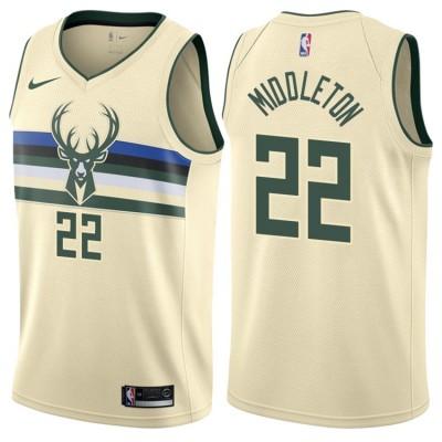 NBA Bucks 22 Khris Middleton Cream City Edition Nike Men Jersey