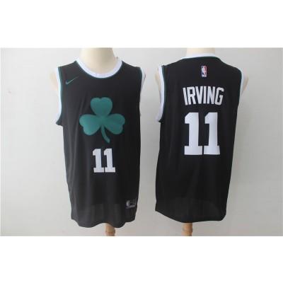 NBA Celtics 11 Kyrie Irving Black Clover Logo Nike Swingman Men Jersey