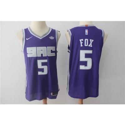 NBA Kings 5 De'Aaron Fox Purple Nike Authentic Men Jersey