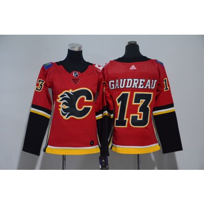 NHL Flames 13 Johnny Gaudreau Red Adidas Women Jersey