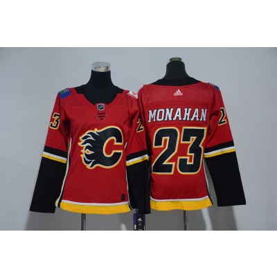 NHL Flames 23 Sean Monahan Red Adidas Women Jersey