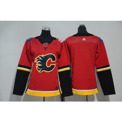 NHL Flames Blank Red Adidas Women Jersey