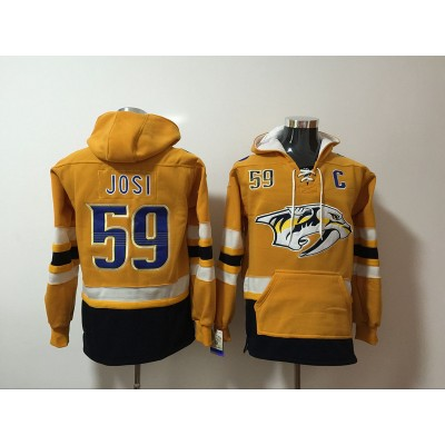 NHL Predators 59 Roman Josi Yellow Hooded Men Sweatshirt