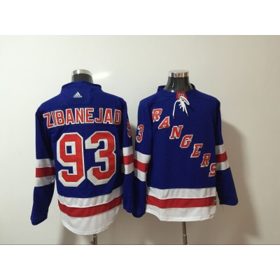 NHL Rangers 93 Mika Zibanejad Blue Adidas Men Jersey