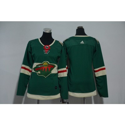 NHL Wild Blank Green Adidas Women Jersey