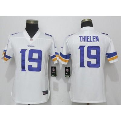 Nike Vikings 19 Adam Thielen White Vapor Untouchable Limited Women Jersey