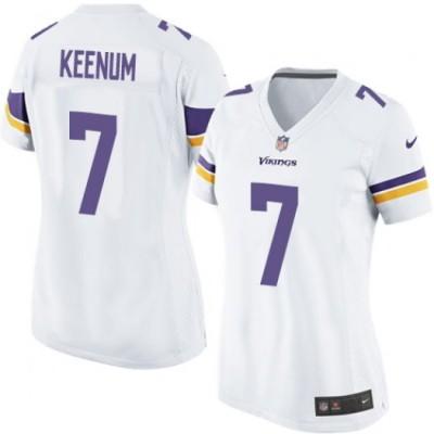 Nike Vikings 7 Case Keenum White Game Women Jersey