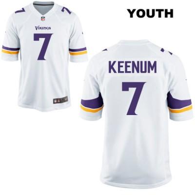 Nike Vikings 7 Case Keenum White Game Youth Jersey