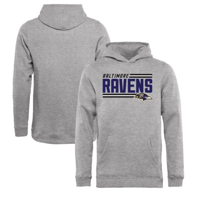 NFL Baltimore Ravens Pro Line Ash Side Stripe Pullover Youth Hoodie