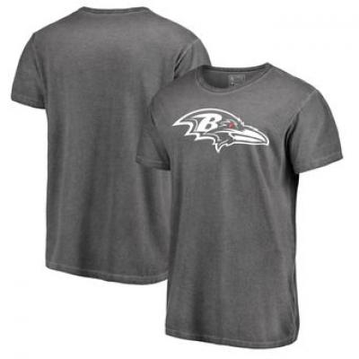 NFL Ravens White Logo Shadow Washed T-Shirt