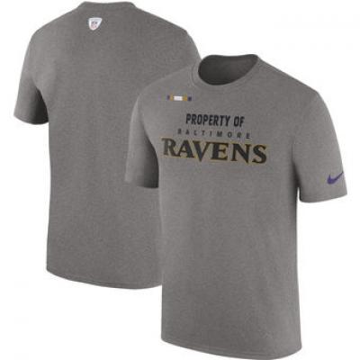 NFL Ravens Nike Sideline Property Of Facility T-Shirt Heather Gray
