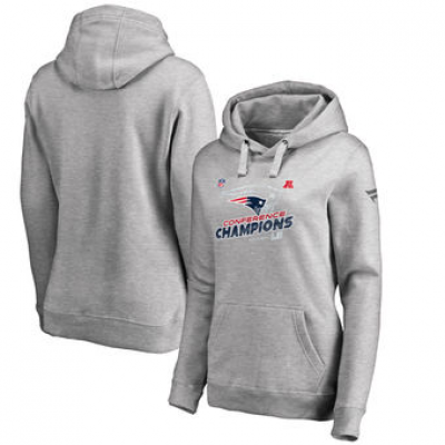 NFL Patriots 2017 AFC Champions Heather Gray Women Pullover Hoodie