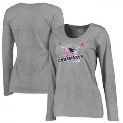 NFL Patriots 2017 AFC Champions Heather Gray Plus Size V-Neck Long Sleeve Women T-Shirt