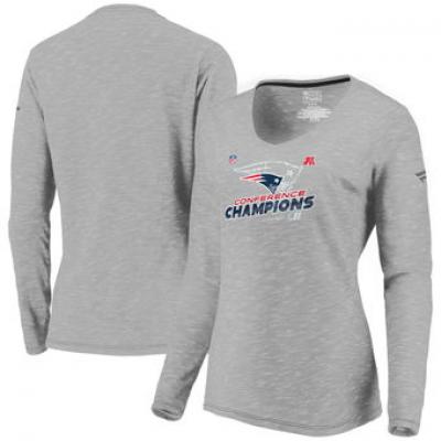 NFL Patriots 2017 AFC Champions Gray Long Sleeve V-Neck Women T-Shirt