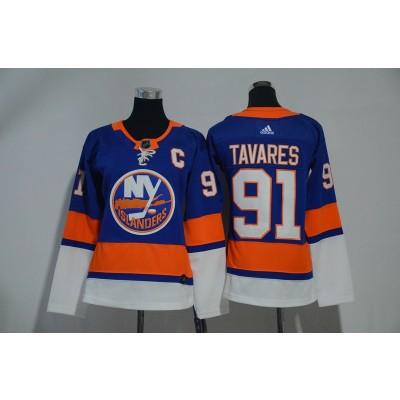 NHL Islanders 91 John Tavares Blue Adidas Women Jersey
