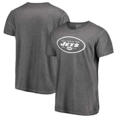 NFL Jets White Logo Shadow Washed T-Shirt -