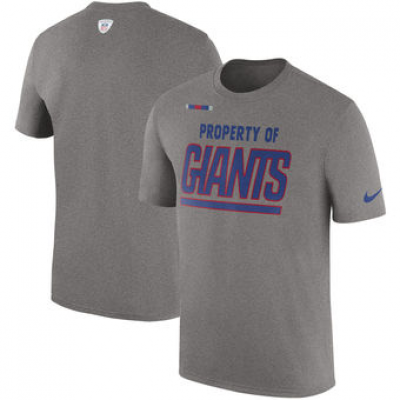 NFL Giants Nike Sideline Property Of Facility T-Shirt Heather Gray