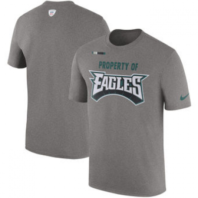 NFL Eagles Nike Sideline Property Of Facility T-Shirt Heather Gray