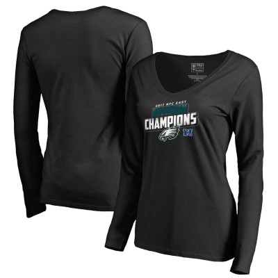 NFL Eagles 2017 NFC East Division Champions Black Long Sleeve Women V-Neck T-Shirt