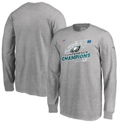 NFL Eagles 2017 NFC Champions Heather Gray Long Sleeve Youth T-Shirt