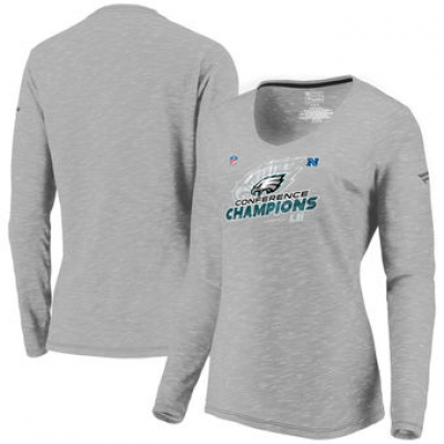 NFL Eagles 2017 NFC Champions Gray Long Sleeve V-Neck Women T-Shirt