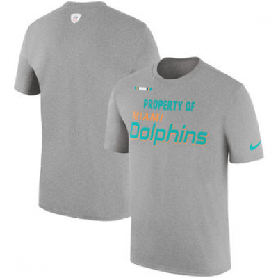 NFL Dolphins Nike Sideline Property Of Facility T-Shirt Heather Gray