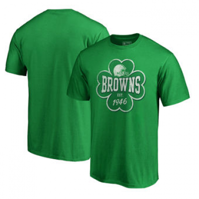 NFL Browns St. Patrick's Day Emerald Isle Big and Tall T-Shirt Green