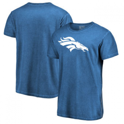 NFL Broncos White Logo Shadow Washed T-Shirt