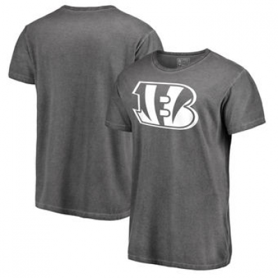 NFL Bengals White Logo Shadow Washed T-Shirt
