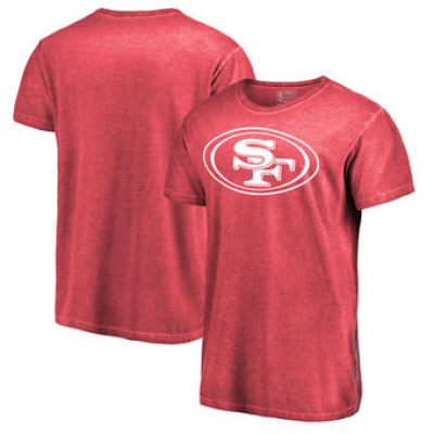 NFL 49ers White Logo Shadow Washed T-Shirt